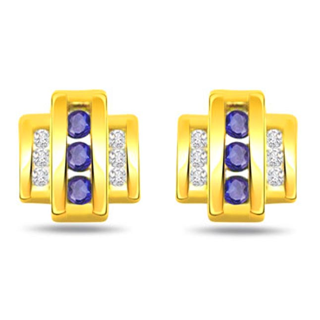 Wheels of Purity 0.15ct Sapphire Gold Earrings -Dia & Gemstone