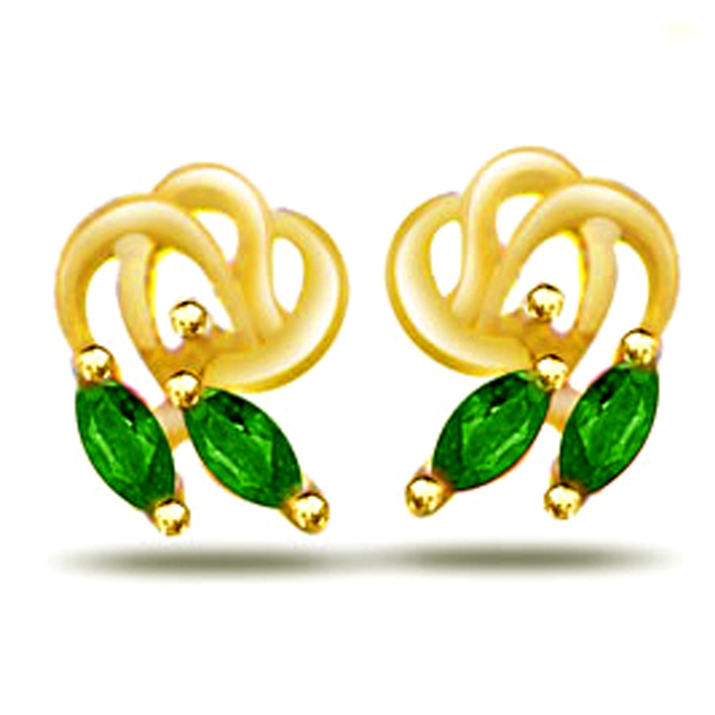 Softy Petals 0.20ct Marq Emerald Earrings -Dia & Gemstone