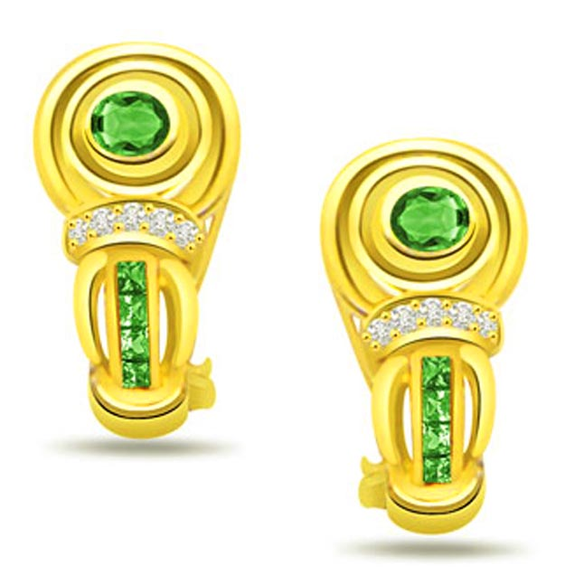 Royal Green Curve 0.07 ct Diamond & Emerald Earrings -Dia & Gemstone