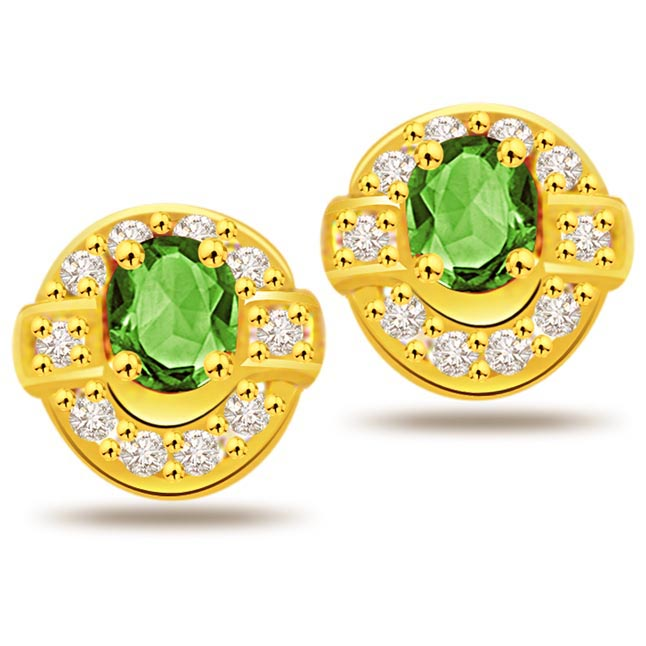 Sparkling Greenberries 0.20 ct Diamond & Emerald Earrings -Dia & Gemstone