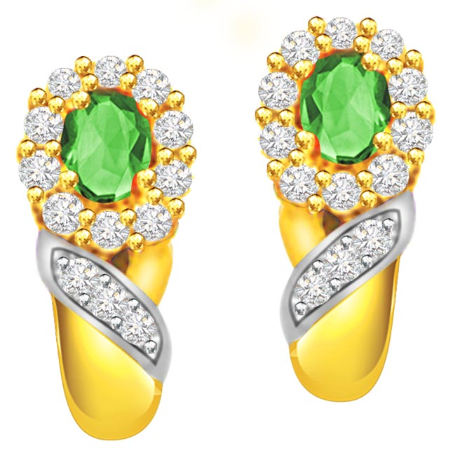 Emerald Elegance Diamond & Emerald Earrings ER261 -Dia & Gemstone