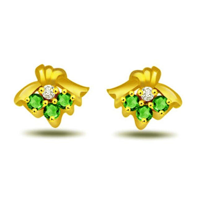 Emerald Isl Bow Shape Diamond & Emerald Earrings -Designer Earrings