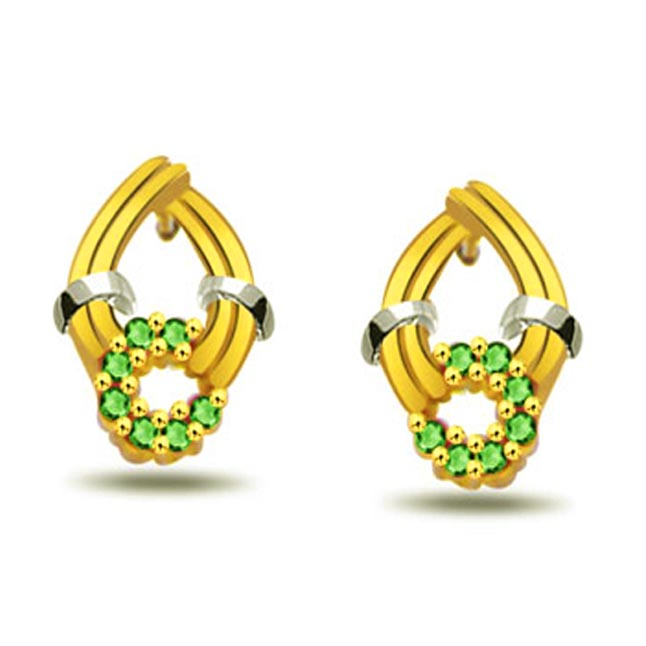 Green Bunch 0.42 ct Emerald Gold Earrings -Dia & Gemstone