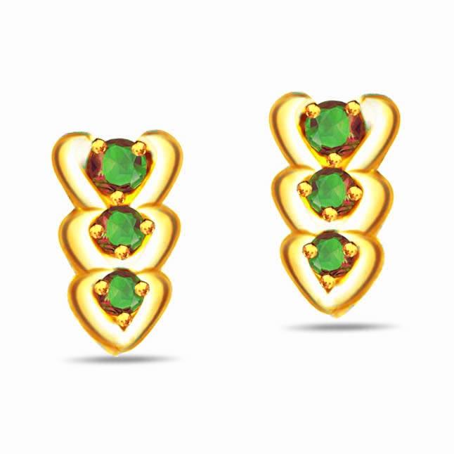 Green Garden 0.20 ct Heart Shape Emerald Gold Earrings -Dia & Gemstone