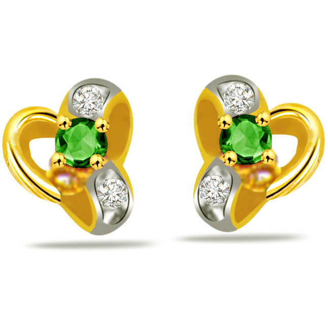 Venus Beauty Diamond & Emerald Classic Earrings -Designer Earrings