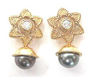 Black Beauty Diamond Earrings -Tahitian Pearl Earrings