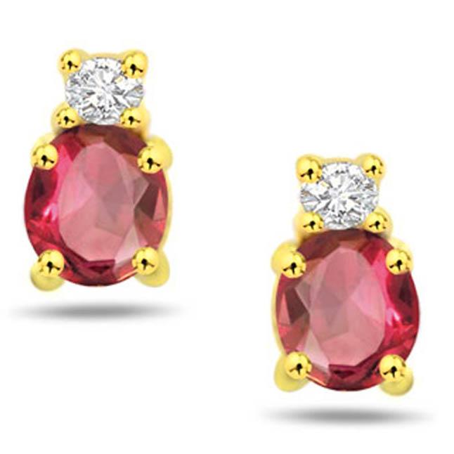 Divine of Love Beads 0.10 ct Diamond & Ruby Gold Earrings -Dia & Gemstone