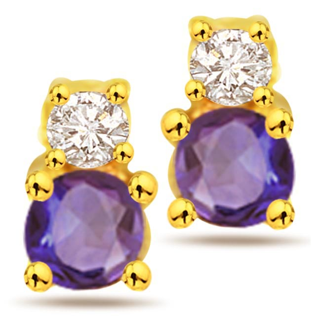 Gems of Love 0.10 ct Diamond & Sapphire Gold Earrings -Dia & Gemstone