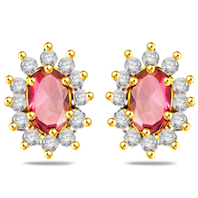Glimmerings Dream Diamond & Ruby Earrings ER280 -Dia & Gemstone