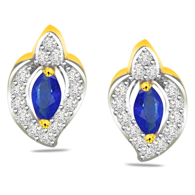 Ocean Beauty 0.28 ct Diamond & Marq Sapphire Earrings -Dia & Gemstone