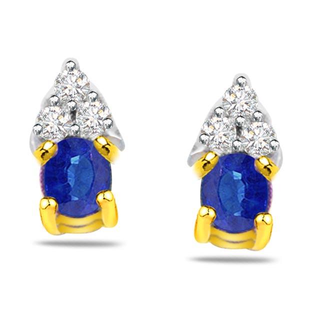 Mesmerizing Beauty Diamond & Oval Sapphire Earrings -Dia & Gemstone