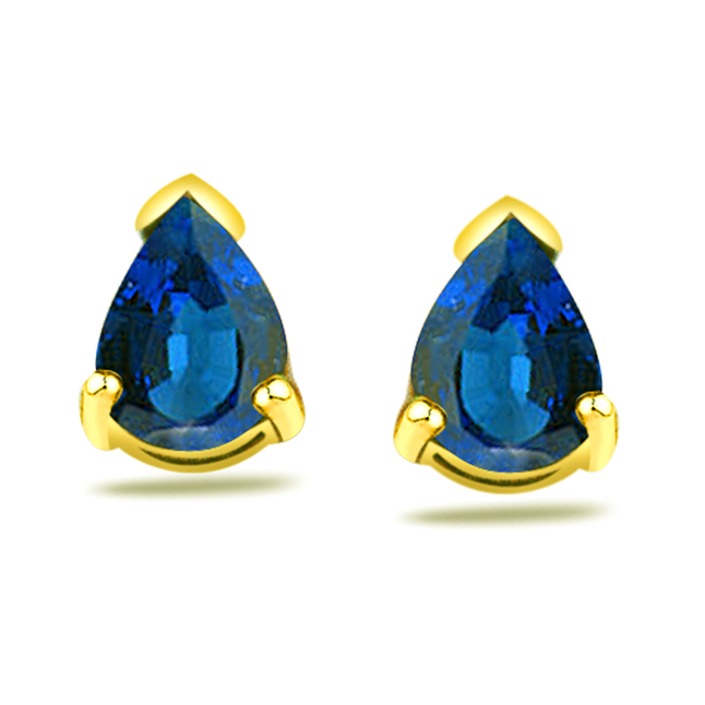 2.00 ct Pear Shape Sapphire Earrings -Dia & Gemstone