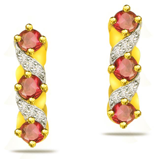 0.36 ct Diamond & Ruby Earrings -Dia & Gemstone