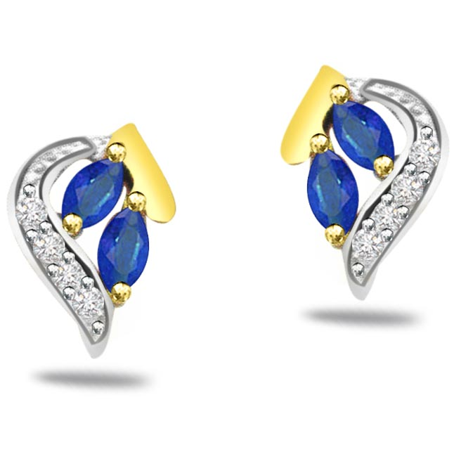 0.16ct Diamond & Marq Sapphire Earrings -Dia & Gemstone