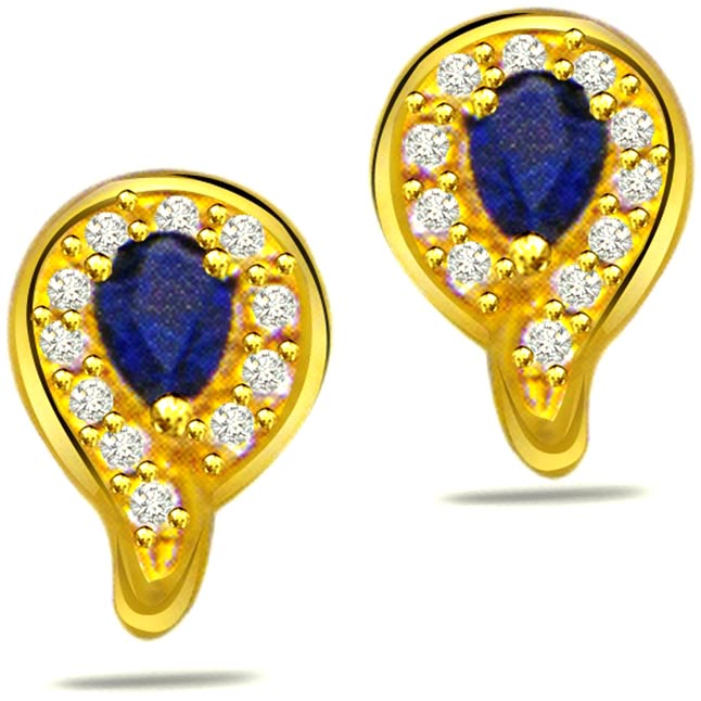 0.15ct Diamond & Pear Sapphire Earrings -Dia & Gemstone
