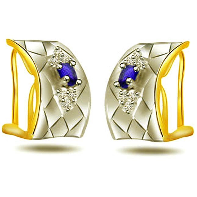 0.12ct Diamond & Sapphire Two -Tone Earrings -Two Tone Earrings