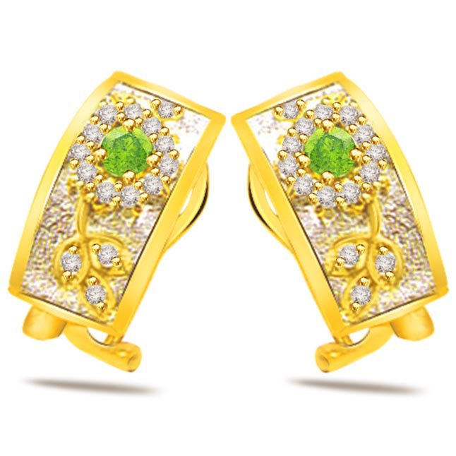 0.60 ct Diamond & Emerald Earrings -Dia & Gemstone