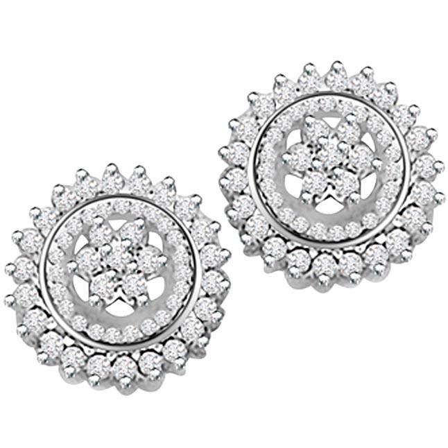 2.00ct Diamond White Gold Earrings -Kudajodi