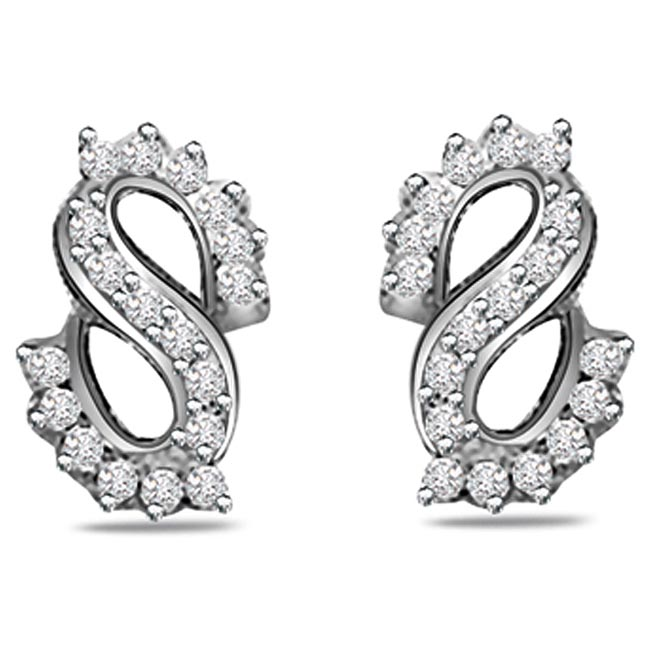 0.75ct Trendy Diamond White Gold Earrings -Designer Earrings