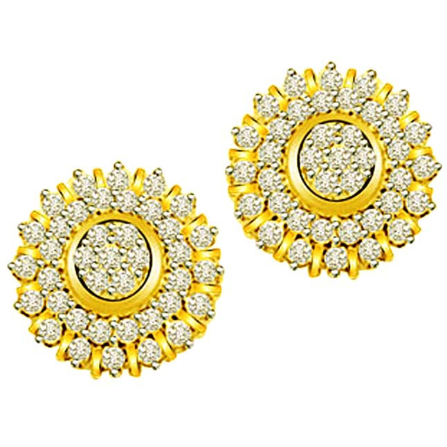 2.00ct Diamond Gold Earrings -Kudajodi