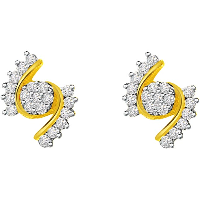 0.76ct Diamond Gold Earrings -Designer Earrings