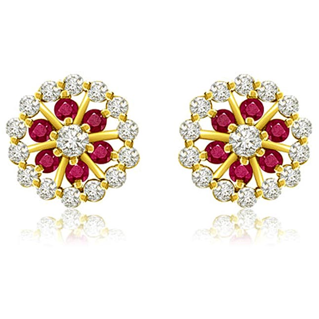 1.05 cts Diamond Ruby Earrings -Flower Shape Earrings