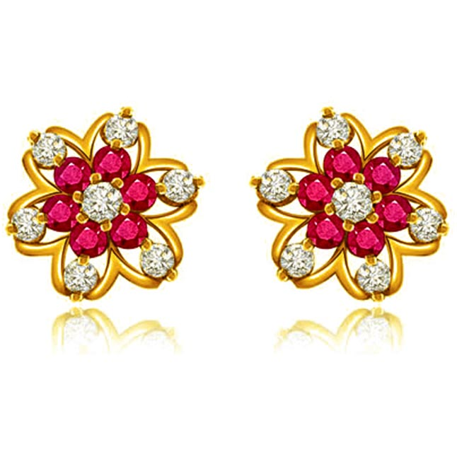 0.88 cts Diamond Ruby Earrings -Flower Shape Earrings