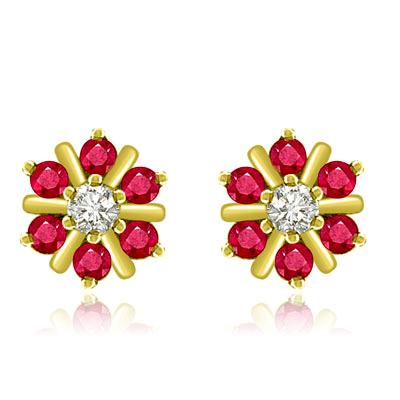 0.70 cts Diamond Ruby Earrings -Flower Shape Earrings