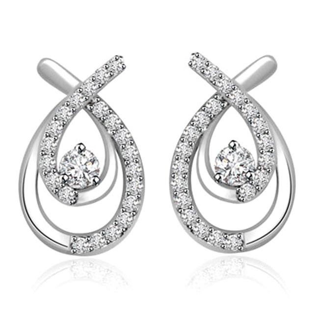 0.22 cts White Gold Diamond Earrings -Designer Earrings