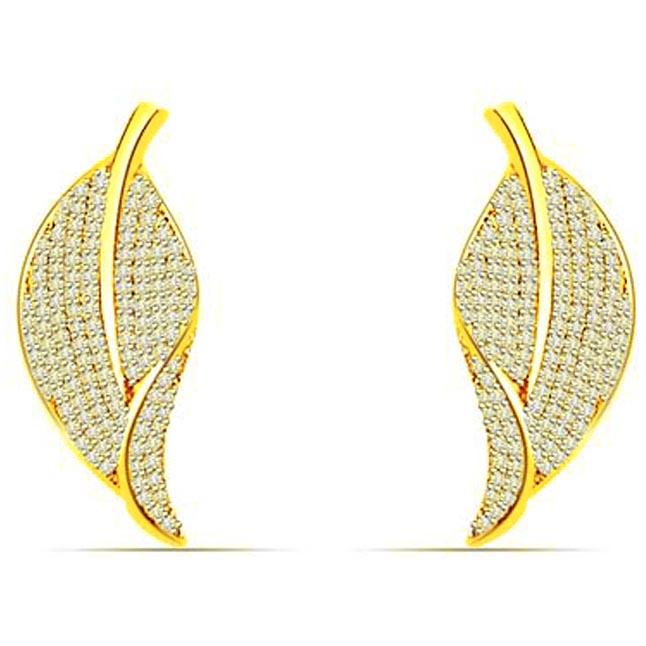 1.00 cts Two Tone Diamond Earings -Designer Earrings