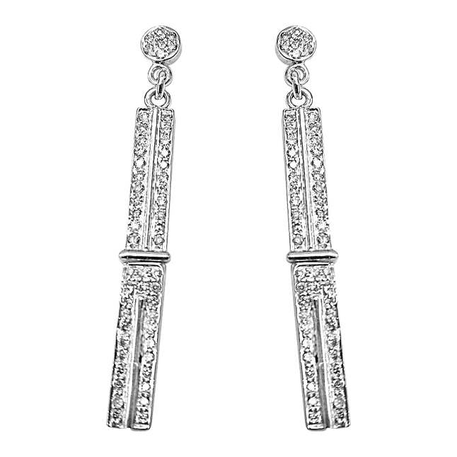 0.50 cts White Gold Hanging Diamond Earrings