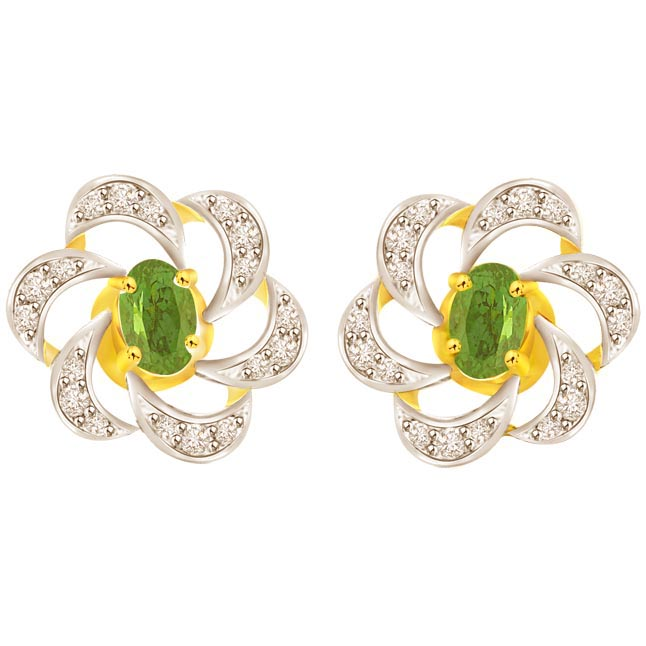0.25 cts Two Tone Diamond & Emerald 18K Earrings -Dia & Gemstone
