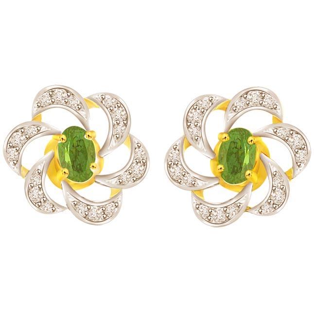 0.25 cts Two Tone Diamond & Emerald 18K Earrings -Dia & Gemstone