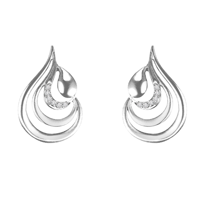 0.06 cts Diamond 14K Earrings -Designer Earrings