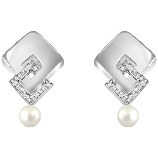 0.17 cts Diamond & Pearl 14K Earrings -Designer Earrings