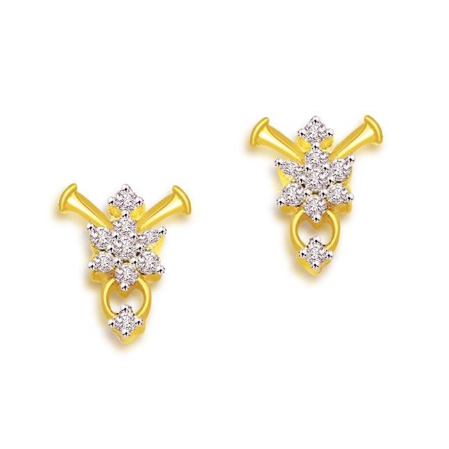 Flower Design 18K Diamond Earrings -Flower Shape Earrings
