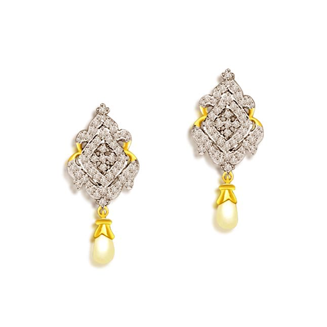 1.00 cts Two Tone Diamond & Pearl Hanging Earrings