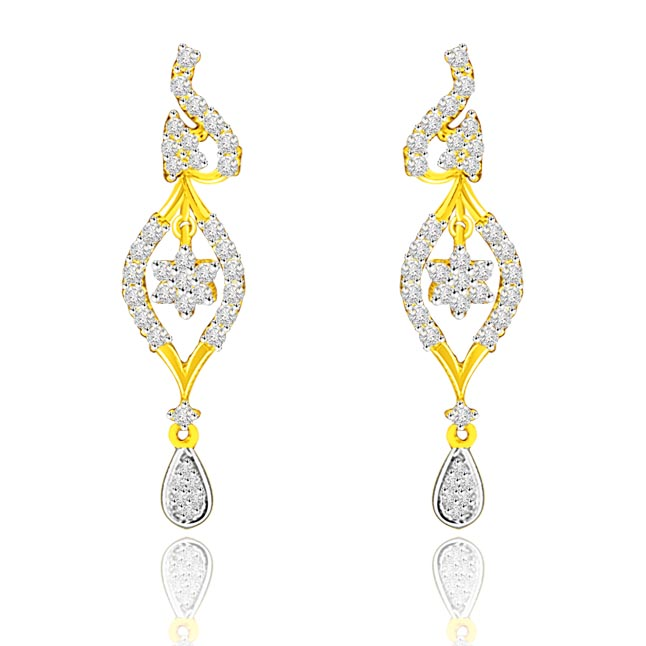 1.00 cts Two Tone Flower Pattern Diamond Hanging Earrings