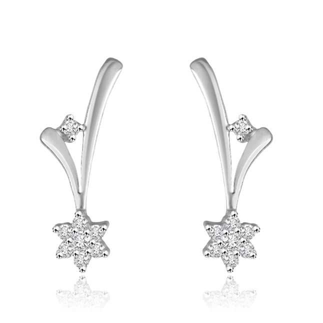 0.16 cts Flower Design Diamond 14K Earrings -Flower Shape Earrings