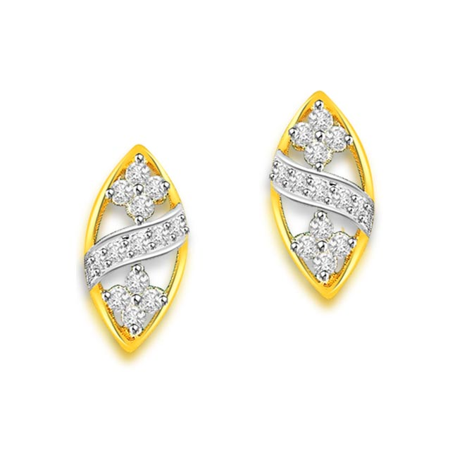 0.40 cts Diamond Two Tone 18K Earrings -Two Tone Earrings