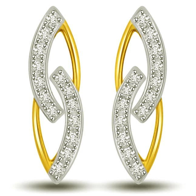 In My Arms Two Tone Gold & Diamond Earrings for My LOVE