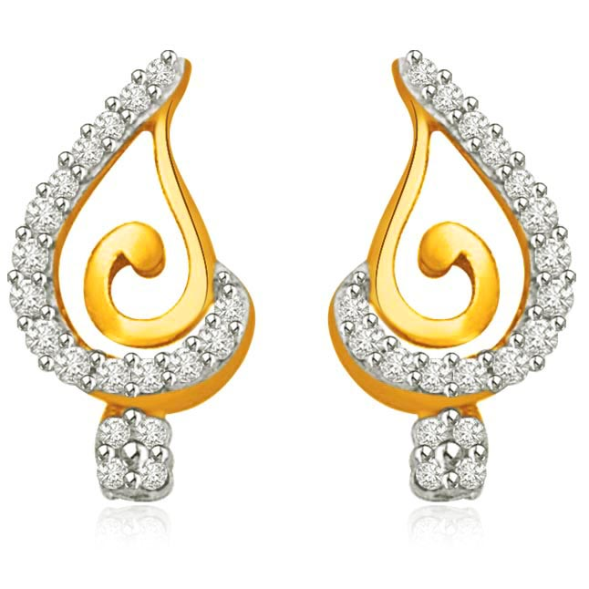 Star Bunch Stick 0.38CT Two Tone Gold & Diamond Earrings for Lady Love