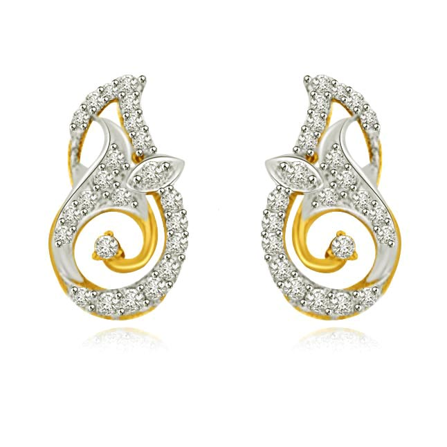 Unconditional Love Two Tone Gold & Diamond Earrings -Designer Earrings