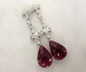 Stunning Red & White SparklesDiamond Charm Earrings (TCW:11.60 cts) -Designer Earrings