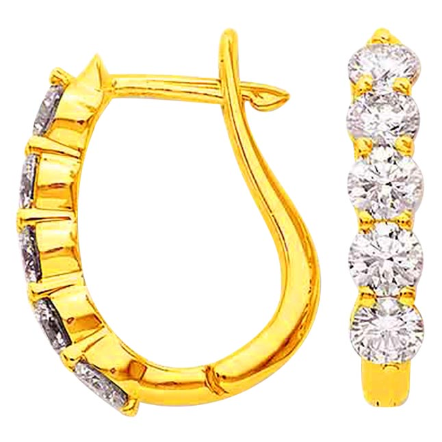 Golden Cage Diamond Bali Elegant Earrings -Balis & Hoops