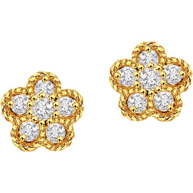 Feminine Charm ER -96 -Flower Shape Earrings