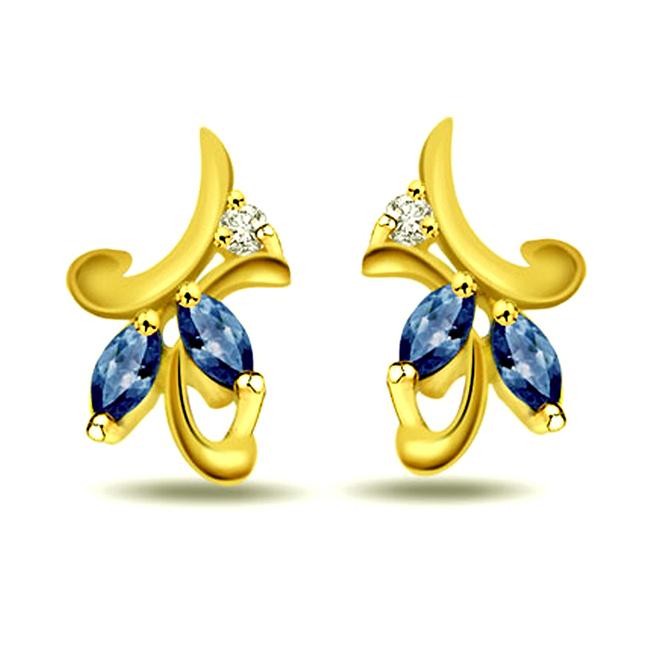 Eternal Feelings Real Diamond & Sapphire Earrings -Designer Earrings