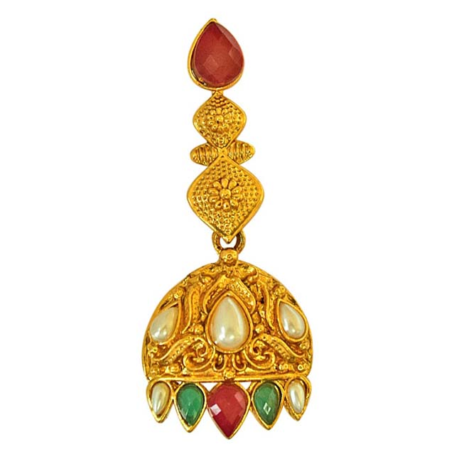 Ethnic Red & Green Coloured Stone & Shell Pearl Fashion Jewellery Set