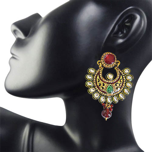 Ethnic Polki, Red & Green Stone & Gold Plated Dangling Earrings