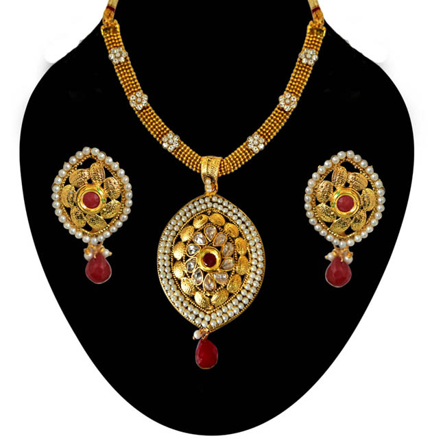 Ethnic Red & White Stone, Shell Pearl & Gold Plated Pendants Necklace & Earrings Set